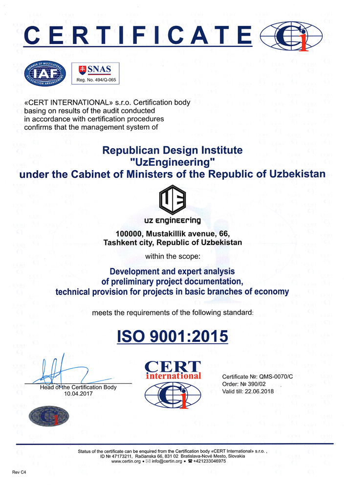 International certificate of compliance ISO 9001: 2015